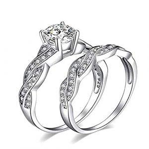 KEATTL Bague Femme,De Luxe Deux En Un Placage d'Argent Twist Diamant Quatre Griffes Zircon Engagement Se Marier Anneau La Mode Bijoux (7, Argent) (KEATTL, neuf)