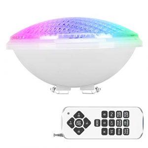Kingwei RGBW 40W Lampe de Piscine PAR56,LED Spot Piscine Etanche IP68,LED de Piscine Submersible Lumière 12V DC/AC,Multicolore Lampe de Piscine Submersible avec Télécommande (ezon europe, neuf)