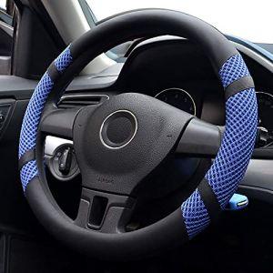 Pahajim Car Steering Wheel Cover Couvre Volant Cuir Housse de Volant de Voiture en Soie glacée Respirante antidérapante Durable Summer Universelle(Bleu) (Pahajim, neuf)