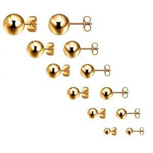Bliqniq 6 Paire de petites boucles d'oreilles rondes noires Boules de 3-8 mm en acier inoxydable Pour homme femme Clous d'oreille supérieure D'or (Glittel, neuf)