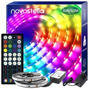 Novostella 12M Ruban LED Musical Rainbow Couleur, Bande LED Étanche RGBIC Multicolore avec RF Télécommande, Synchroniser avec Rythme, 5050 RGB Ruban Lumineux Décorative pour Maison, Cuisine, Fête (Ustellar-EU, neuf)