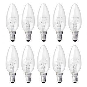 Realux Pack de 10 ampoules à incandescence bougie/flamme transparentes - Culot E14 - 60W (ncc-design, neuf)