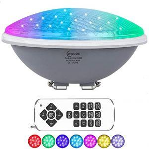 KWODE Éclairage de Piscine à LED PAR56, 20W RGBW Lampe pour Piscine, Spot Piscine Étanche IP68 Projecteur Piscine avec Télécommande[12V AC/DC][Classe Énergétique A++] (20) (KWODE-FR, neuf)