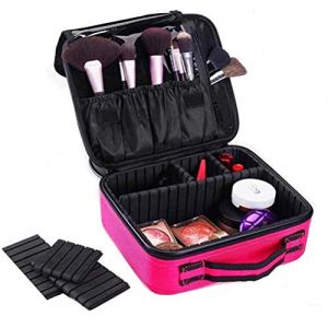 Sac maquillage Grande capacité cosmétique sac professionnel imperméable à l'eau de stockage cloison amovible avec brosse rangement maquillage sac pour maquillage de tatouage d'ongle,Pink (AND DOG, neuf)