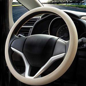 Mode souple en silicone antidérapant Housse de volant de voiture Décoration de voiture Housse de volant (Beige) (Wittyware EU, neuf)