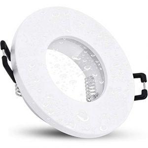 linovum Cadre de spot encastrable ISAWO pour LED IP65 - Protection contre l'eau avec douille GU10 - 230 V - Blanc - Rond - Pour salle de bain et extérieur (linovum, neuf)