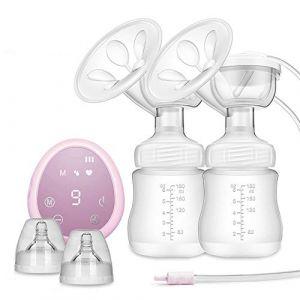 ZEHNHASE Tire-lait électrique, Allaitement portatif à double aspiration avec pompe d'affichage à écran tactile complet sans BPA et silicone 100% de qualité alimentaire (Rose) (ZEHNHASE, neuf)