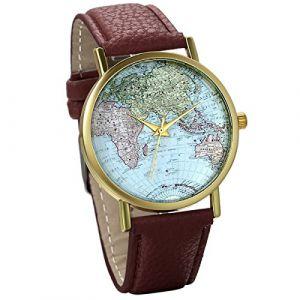 JewelryWe Montre Quartz Analogique Classique Globe Carte du Monde Cadran Blanc Bracelet Cuir Alliage Femme Fille Couleur Brun (JewelryWe Bijoux, neuf)