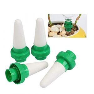 TIMESETL 4er Automatique plante d'irrigation d'eau distributeur cône en céramique tête plante verseur goutte à goutte d'irrigation pour jardin, plante d'intérieur, fleurs (TXJ-EU, neuf)