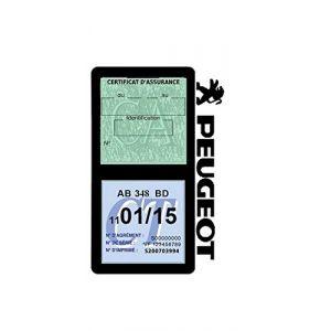 Générique Étui Double Assurance Peugeot Noir Porte Vignette adhésif Voiture Stickers Auto Retro (Stickers-auto-retro, neuf)