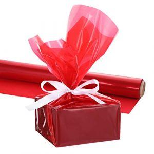 Tomaibaby Emballage Rouge Vif Épais 3 Mil Papier Cellophane Wrap Papier Cellophane Wrap Rouleau pour Paniers Cadeaux Arts & Artisanat Traite (Merlun, neuf)