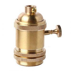 PIANUO Culot de Lampe avec Interrupteur en Cuivre Laiton Vintage Douille Support pour Rétro Edison Style Ampule E27 (PIANUO-FR, neuf)