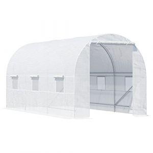 Outsunny Serre de Jardin Tunnel Surface Sol 9 m² 4,5L x 2l x 2H m châssis Tubulaire renforcé 18 mm 6 fenêtres Blanc (Aosom fr, neuf)