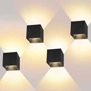 LEDMO Applique Murale Intérieur LED 12 W 4 Pièces Avec Angle de Faisceau Réglable Applique Murale Exterieur Blanc Chaud - 2800-3000 K IP65 (ezon europe, neuf)