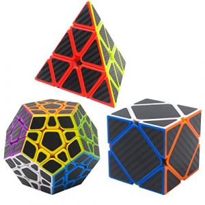 Speed Cube Ensemble Megaminx,Pyraminx,Skewb 3 Pack Coolzon® Nouveau Cubo Autocollant de Carbone Fibre Ultra Rapide (Easehome, neuf)