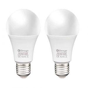 Lampe Detecteur Crepusculaire,Ampoule Détecteur de Luminosité LED E27 Blanc Froid 6000K On/Off Auto 10W Equivalent 806Lumens pour Escalier Passerelle Jardin Lot de 2 (Etrogo, neuf)