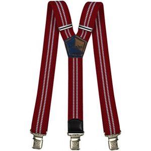 Bretelles Y entièrement réglable pour Homme Femme 4 cm avec 3 clips élastique Solide Casual Pantalon Jeans Différentes couleurs Noir, Marron, Bleu (Rouge Blanc) (Decalen France, neuf)