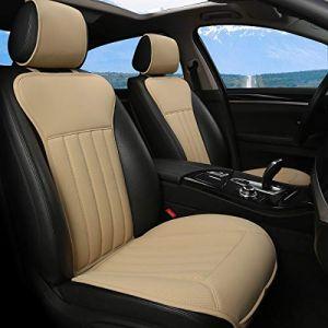 BLACK PANTHER Coussin Siege Voiture, Confortable Housse de Siège Avant,Quatre Saisons Universelles Antidérapant Housse Voiture Siege avec Dossier (2PC-Beige) (BLACK PANTHER AUTO, neuf)