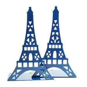 1paire de serre-livres décoratifs en forme de tour Eiffel, en métal - Pour étagère, bureau, etc. bleu marine (Feiandenguk, neuf)