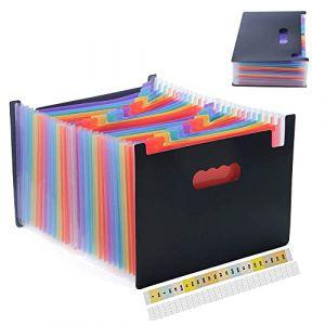 Amaza Trieur 24 Compartiments A4 Accordeon, Trieur à Soufflets, Boite Archivage Classeur, Porte-documents, Expanding File Folder (Multicolore) (MonQiDirect, neuf)
