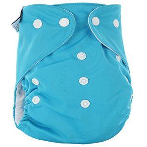 Happy Cherry Couche Lavable Enfant Bébé Fille Garçon - Couche-Culotte Respirant Anti-Fuite Culotte d'Apprentissage Imperméable Bouton Taille Réglable Imprimé Variés (Sans Insert) pour 0-3 ans Bleu (OUJINGEU, neuf)