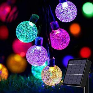 Guirlande lumineuse solaire de jardin 50 LED d'extérieur Boule de cristal Guirlande lumineuse de fée Lumières de fée Étanche 24Ft Éclairage décoratif pour jardin, terrasse, cour, Noël Multicolore (Useber Ltd, neuf)
