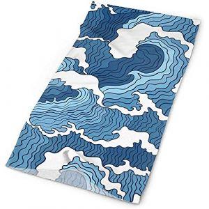 Chapeau décontracté de sport polyvalent de vague japonaise bleue et blanche, bandeau, bandana, guêtre sans couture, bandeau, cagoule, doublure de casque (Hancal, neuf)