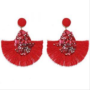Boucles d'oreilles vacances coloré cristal gland boucles d'oreilles pour les femmes charme boucles d'oreilles mariage déclaration de mariée frange boucle d'oreillerouge (Graceguoer, neuf)