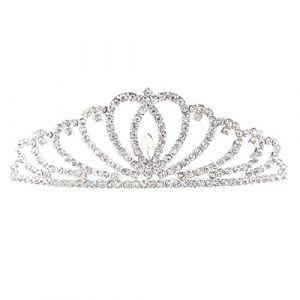 Frcolor Cristal Couronne Peigne de mariage Bandeau Strass Bandeaux en forme de cœur Diadème pour la Reine de mariage Princesse (Ansuen, neuf)