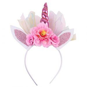 FRCOLOR Bandeau de corne de licorne, bandeau de corne de licorne pour vêtements de bébé, enfant, cosplay (rose) (Ansuen, neuf)