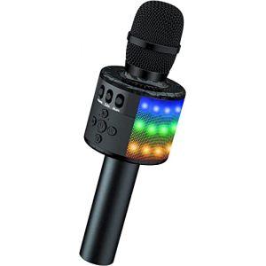 BONAOK Microphone Sans Fil, Microphone Karaoké Enfant Bluetooth Lecteur Enregistreur Portable, Lumières LED Coloré Microphone de Fête Familial pour Appareil Intelligent Android/iOS-Noir (BONAOK FR, neuf)