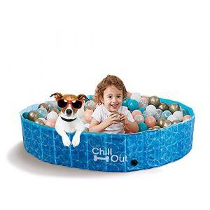 ALL FOR PAWS Extérieur Bain Chien Piscine Portable pour Animal Domestique Baignoire Bleu, Large (ALL FOR PAWS - EU, neuf)