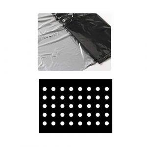 Toile de paillage en plastique noir pour jardin - Membrane PE - Bâche de sol avec trous de plantation - Film plastique pour potager et plantes, 10 x 1.35m (FGASAD, neuf)