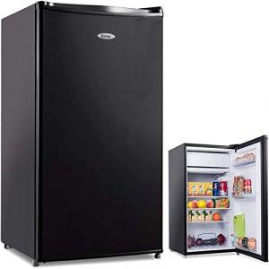 COSTWAY Frigo Combiné Congélateur Réfrigérateur Mini-Réfrigérateur,Capacité123L,230v,50HZ Certification CEL (Noir) (FDS GmbH, neuf)