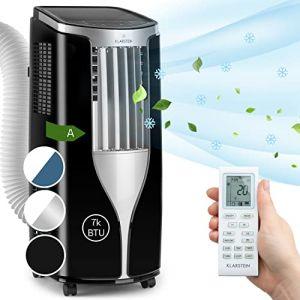 KLARSTEIN New Breeze 7 - Climatiseur, Ventilateur, 7000 BTU/h, 2,6 KW, 16 à 30 ° C, Classe A, Écran LCD, Télécommande/Roues/Tuyau d'évacuation Inclus, Noir (Klarstein France, neuf)