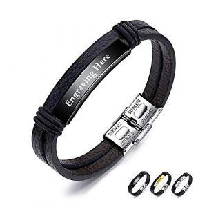 XiXi Bracelet Personnalisé ID Bracelet PU Cuir Bracelet pour Homme Nom Personnalisable Acier Inoxydable Bracelets Prenom Gravure Cadeau pour Anniversaire La Saint Valentin (Noir) (XiXi Jewelry, neuf)