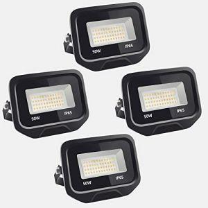 4pcs 50W 5000LM Lumières Extérieures 6500K Projecteur LED Ultra Mince Spot LED Extérieur Projecteur LED Extérieur Blanc Froid Lampe Projecteur IP65 Etanche Câble 0.5M [Classe énergétique A++] (NATUR, neuf)