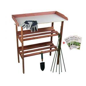 MaxxGarden Table de préparation pour semis en bois avec plan de travail 80x40x86cm (maxxtools, neuf)