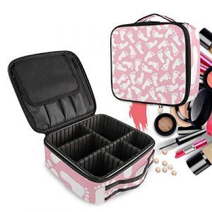 Impression De Pied Blanc Rose Trousse Sac Cosmétique Organisateur de Maquillage Pochette Sacs Cas avec Cloisons Amovibles pour Voyage Les Femmes Filles (LDIYEU, neuf)