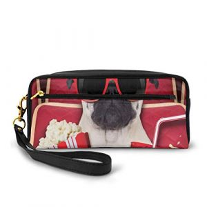 Pencil Case Pen Bag Pouch Stationary,Funny Dog Watching Movie Popcorn Soft Drink And Glasses Animal Photograph,Small Makeup Bag Coin Purse (Huageguli, neuf)