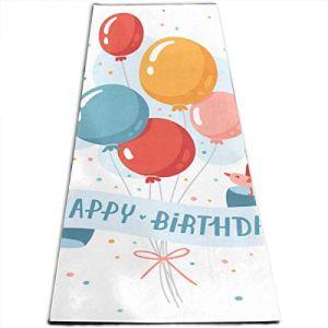 YYRR tapis de yoga Mat Pilates Workout Birthday Balloons Happy Birthday Greeting Little Personalized Printing Thick?Non-Slip Anti-Tear High Density Lightweight with Carrying Strap Storage Pocket (YYRRhdl, neuf)