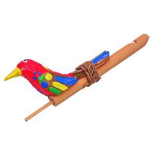 Sifflet à Coulisse Appeau Oiseau Bois Bambou Artisanal bamboo whistle rouge (BALI PAPAYA, neuf)