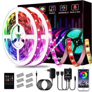 Ruban à LED, L8star LED Ruban Intelligent Bande Lumineuse Led 5050 RGB SMD Multicolore Bande LED Lumineuse avec Télécommande changement (16.4ft) (ujiehhn, neuf)