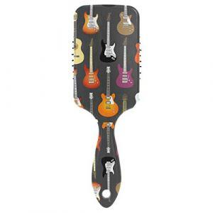 DOSHINE Brosse à cheveux avec motif de musique pour guitare avec coussin d'air, peigne de massage anti-statique à pointe bouleuse pour cheveux secs et abîmés (doshine, neuf)
