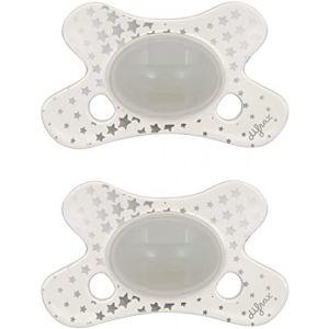 Difrax Tétine Bébé 0-6 Mois Natural, 2 Unité (Lot de 1) Tétines avec Tétine Silicone, Phosphorescente Nuit, Facile à Accepter, un Apport Optimal d'Air - Glow in the Dark (Difrax, neuf)
