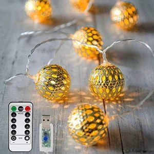 Vegena Guirlande lumineuse à LED, 20 LED, 3 m, guirlande marocaine, 8 modes à intensité variable avec télécommande, boules orientales, guirlande de Noël avec USB, pas de piles, blanc chaud (Pmty-EU, neuf)