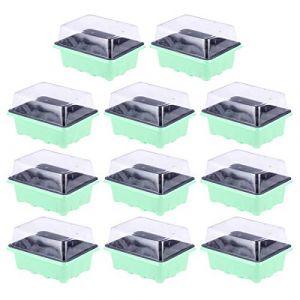 DOITOOL 10 Pièce Mini Serre pour Semis avec 12 Cellules Mini Serre de Jardin Plastique Bac à Semis pour Démarrage Et Croissance Semence Kit de Germination Serre 18 X 14 X 6 cm (Vert) (Sandorack, neuf)