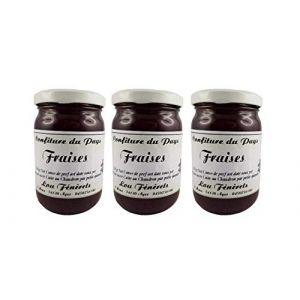 Confiture de Fraise - Lot de 3 pots de 250 g - Confiture au chaudron du Pays à la fraise fabriquée en Haute-Savoie – Préparation artisanale - Tartinable de fruit cuit (SAS FROMAGES ET VINS D'ICI, neuf)