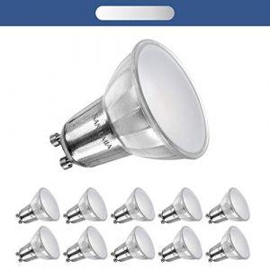 Sanlumia | 7W LED Spot Culot GU10 | Dimmable | 650LM | équivaut 75W halogène | Blanc Chaud 3000K | 110° Larges Angle de Faisceau | LED Light Lampe | Finition Verre | Lot de 10 Ampoules (Sanlumia, neuf)