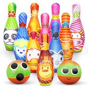 Dreamon Jeux de Quilles 10 quilles et 2 Balle en Mousse Bowling Set mit Sac Rangement Jouet Exterieur Intérieur Enfant Cadeaux pour Garçons Fille 3 4 5 Ans (Dreamon Toy, neuf)